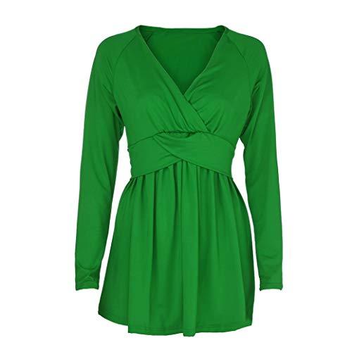 Fantaisiez Couleur Chemisier Vert Femme Profond Sweatshirt pour Pure Sexy Blouse Loose Longues de Col Manches Blouse en V d'automne Evas vH7xqdF7w