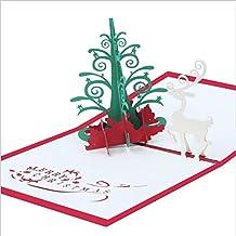 3D Christmas Greeting Card Color Print Three-Dimensional Handmade Christmas Tree Reindeer Greeting Card, 5 Pack