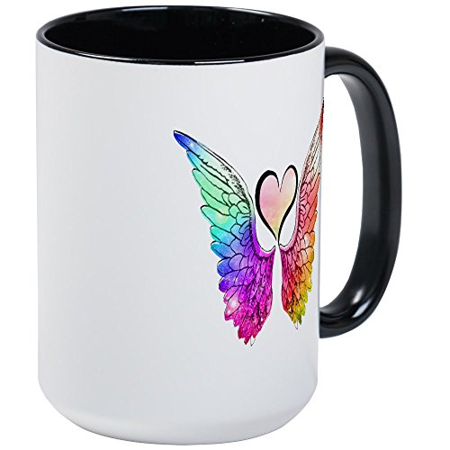 CafePress - Angel Wings Heart Mugs - Coffee Mug, Large 15 oz. White Coffee - Large Mug Angel