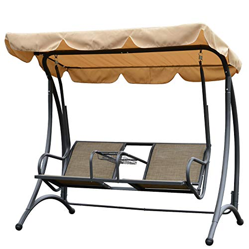 Outsunny 2 Person Outdoor Covered Porch Canopy Swing Bench Chair with Stand