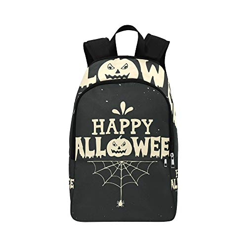 YSWPNA Hand Drawn Happy Halloween Lettering Pumpkin Casual Daypack Travel Bag College School Backpack for Mens and Women ()