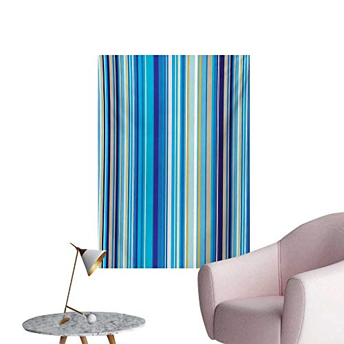 (Anzhutwelve Blue Photographic Wallpaper Vertical Stripes Repeating Retro Revival Pattern Funky Abstract CompositionMustard Blue White W32 xL36 The Office Poster)