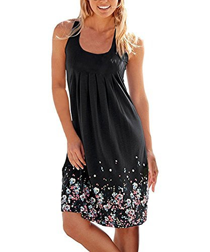 Obazidou Summer Casual Loose Mini Dress Print Pleated Sleeveless Sundress A-Line Beach Dresses Large Black
