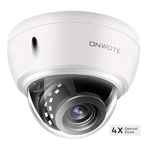 【4X Optical Zoom Autofocus】 ONWOTE 5MP IP POE Security Camera Outdoor Dome with Audio Onvif, 5 Megapixel 2592x 1944P Super HD Vandalproof Camera, 100ft Night Vision, IP66, 23-115° Viewing Angle