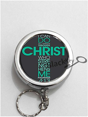 BlackKey I Can Do All Things Through Christ Who Strengthens Me Round Portable Pocket Cigarette Ashtray Ash Holder with Key Ring -86