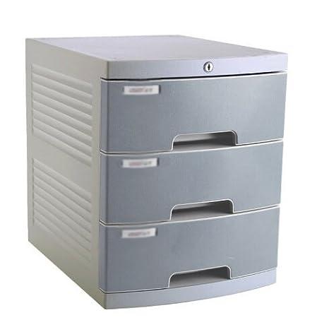 Armarios de archivo cerrados plástico archivadores escritorio Gabinetes cajón grande acabado armario, color gris: Amazon.es: Oficina y papelería
