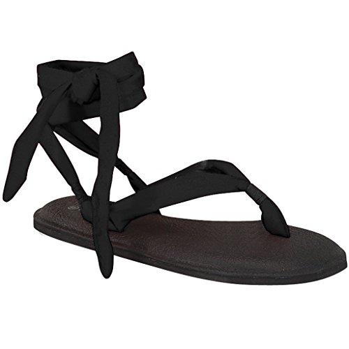 Kvinners Yoga Flip Flop Slynge Gladiator Slingback Flat Tanga Sandal Black-en