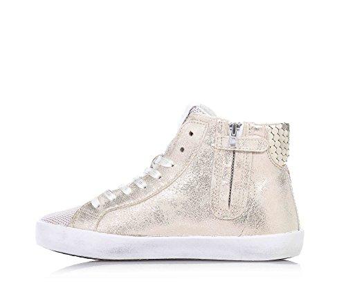 D.A.T.E. - Goldene Sneakers mit Schnürsenkel, aus Leder, seitlich ein Reißverschluss, Kind, Mädchen, Damen