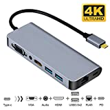 USB C to HDMI VGA Ethernet Adapter, Type C Hub with HDMI 4K RJ45 2 USB3.0 Audio and PD Charging Ports,Compatible with Samsung DeX for Galaxy S9/S8/Note 9/8,Nintendo Switch Adapter,MacBook/MacBook Pro