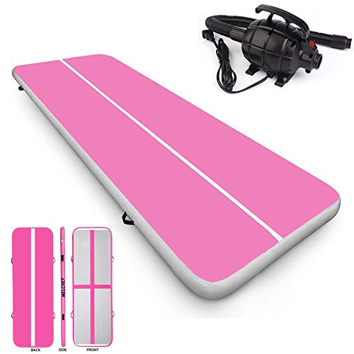 MELCHEF 10ft/13ft/16ft/20ft/23ft/26ft Air Track Tumbling Mat Gymnastics Mat Inflatable Tumbling Mat Tumble Track Air Track Mat with Electric Air Pump (16ftx3.3ftx4in(5x1x0.1M), Pink/Grey)