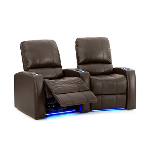 Octane Seating Blaze XL900 Theatre Recliners Lighted Cup Holders - Memory Foam - Accessory Dock - Brown Premium 100% Leather - Power Recline - Row 2 Chairs