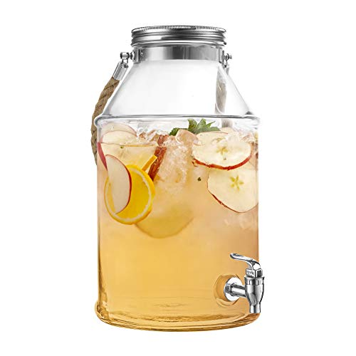 Style Setter Maxwell 210454-GB 1.7 Gallon Glass Beverage Drink Dispenser with Metal Lid & Rope Handle, 9.5x14