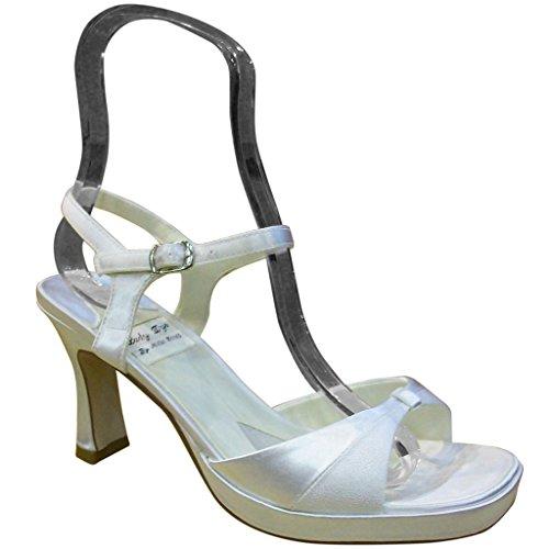 Lady Dye Women's 1999 White Satin Open Toe Platform Sandals 10 M