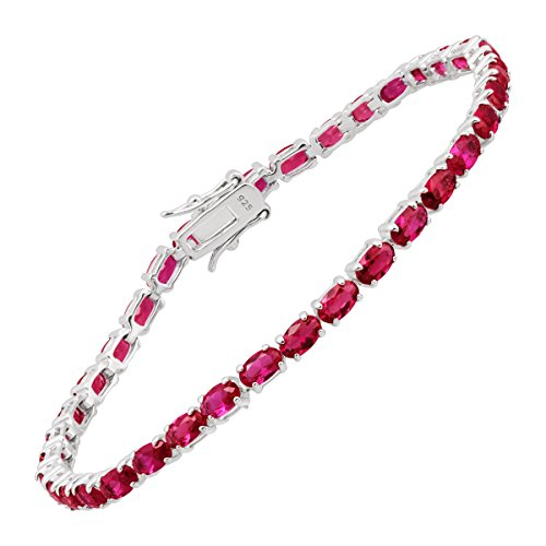 Created Ruby Tennis Bracelet in Sterling Silver, ()