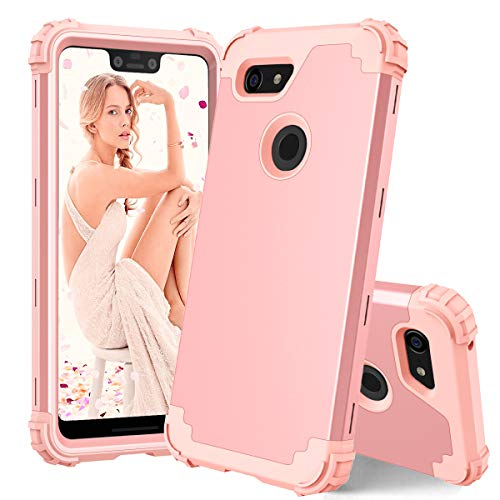 Casetego Compatible Google Pixel 3 XL Case,Three Layer Heavy Duty Hybrid Sturdy Armor Shockproof Protective Cover Case for Google Pixel 3 XL,Rose Gold (Protective Camera Armor)