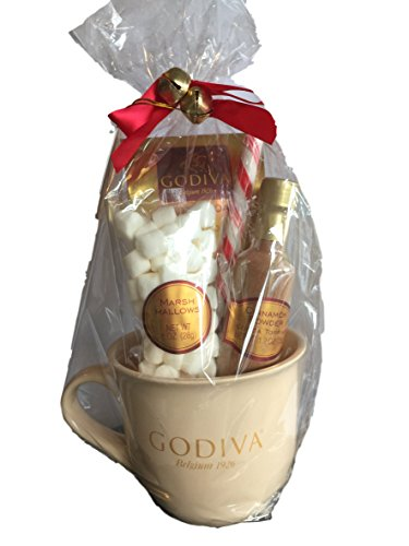 Godiva Chocolate Hot Cocoa and Toppings Gift Set – Mug, Godiva Hot Cocoa, Candy Peppermint Stick. Cinnamon Powder, Marshmallows