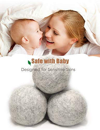 OHOCO Wool Dryer Balls, Organic Natural Wool for Laundry, Fabric Softening - Anti Static, Baby Safe, No Lint, Odorless and Reusable 6 Pack Gray