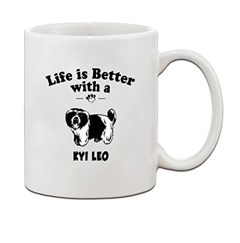KYI LEO DOG Life is Better Ceramic Coffee Tea Mug Cup 11 Oz