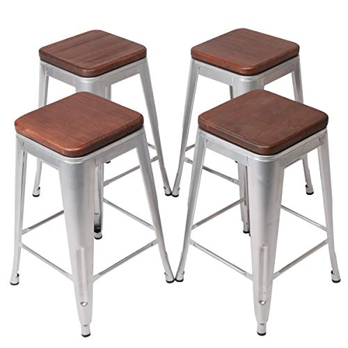 "YongQiang Set of 4 Swivel Metal Barstools Home Kitchen Dining Chair Counter Stool Cafe Side Chairs with Wood Seat 26"" Silver"