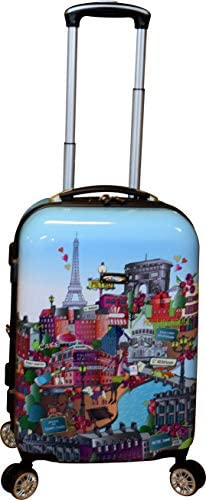 Kemyer 788 Vintage Series 20 Lightweight Expandable Spinner Luggage Paris Cafe