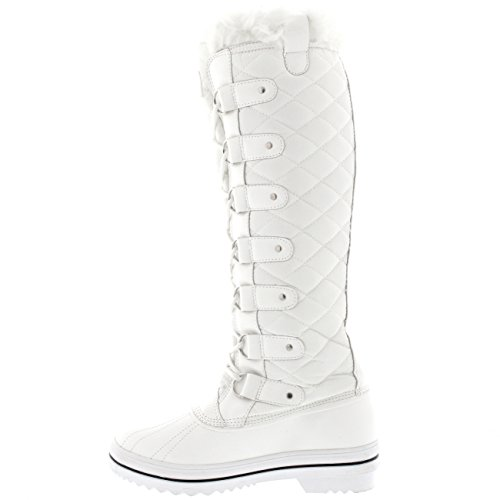 Anatra Polar Donna di Ginocchio Pelliccia Bianco Foderato Nylon Alto Trapuntato Stivali xTIfrT