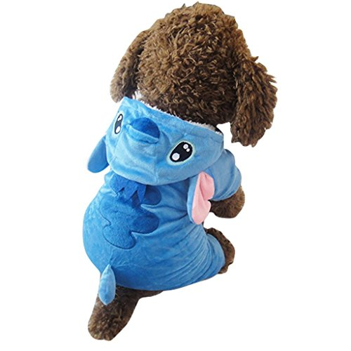 [Pet Costume,Gimilife Disney Stitch Cartoon Pet Custume Coat,Pet Outfit,Pet Pajamas Clothes Hoodie Coat For Small Medium Large Dogs and Cats,Halloween and Winter( M )] (Easy Lilo And Stitch Costumes)