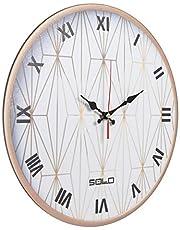 ساعة حائط خشب دائرية انالوج بعقارب من سولو B699 - 40 سم