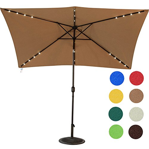 Sundale Outdoor Rectangular Solar Powered 22 LED Lighted Outdoor Patio Umbrella with Crank and Tilt, Aluminum, 10 by 6.5-Feet (Tan) (Outdoor Patio Umbrella)