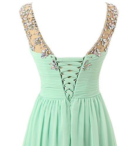 Lang Brautjungfernkleid Gelb Elegant Chiffon Damen Empire Abiballkleid Abendkleider A Changjie Perlen Linie Ig6wWq