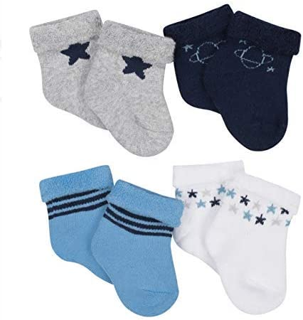 Gerber Baby Boy Size 0-6 Months Wiggle Proof Stay On, Organic Cotton Ankle Bootie Sock, 4-Pack