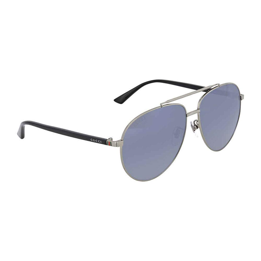 484a94b9c60 Amazon.com  Gucci GG 0043SA 001 Asian Fit Silver Metal Aviator Sunglasses  Blue Mirror Lens  Clothing