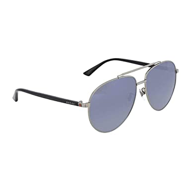 f6a7f316e96 Amazon.com  Gucci GG 0043SA 001 Asian Fit Silver Metal Aviator Sunglasses  Blue Mirror Lens  Clothing