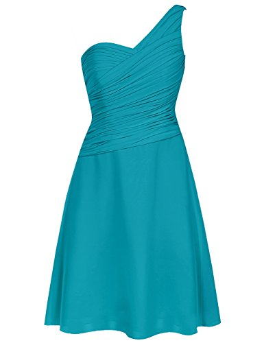 EDressy One Shoulder Bridesmaid Dresses Short Chiffon Prom Homecoming Dress Party Formal Gowns Jade US 2