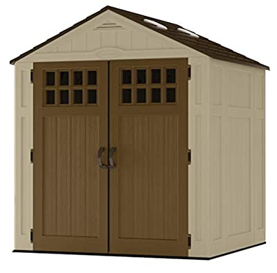 Suncast 6' x 5' Vertical Storage Shed - Outdoor Storage for Backyard Tools and Accessories - All-Weather Resin Material, Transom Windows and Shingle Style Roof - Wood Grain Texture