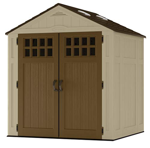 (Suncast 6' x 5' Vertical Storage Shed - Outdoor Storage for Backyard Tools and Accessories - All-Weather Resin Material, Transom Windows and Shingle Style Roof - Wood Grain Texture)