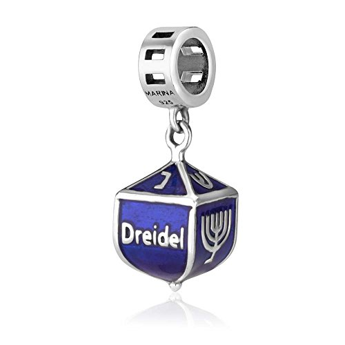 Genuine 925 Sterling Silver and Blue Enamel Dangle Pendant Charm for 3mm Necklace or Snake Chain Bracelet, Dreidel