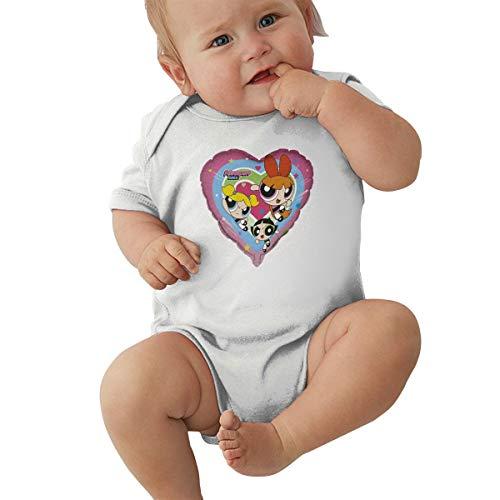 TANISHABUNKLEY Baby Powerpuff Girls Breathable Short Sleeve Creeping SuitBaby Suit 0-3M White ()