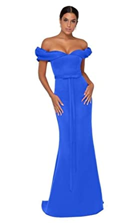 4100351dc13 Terani Couture 1911P8183 Ruffled Sleeves Off Shoulder Mermaid Gown in Royal