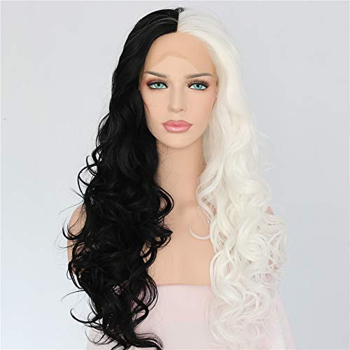 Black Celebrity Costumes (Sapphirewigs Cruella Half Black Half White Color Cosplay Party Blogger Celebrity Makeup Synthetic Lace Front)