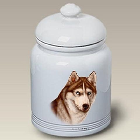 Siberian Husky (Red and White): Ceramic Treat Jar 10