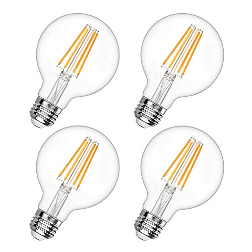 G25 Led Edison Bulb Dimmable LED Globe Light Bulb 60W Equivalent 2700K Soft White 600LM 6W Led Filament Bulb E26 Standard Base Decorative Vanity Bulbs for Makeup Mirror, Bathroom, 4 Pack, by Boncoo Clear Decorative Globe Bulbs