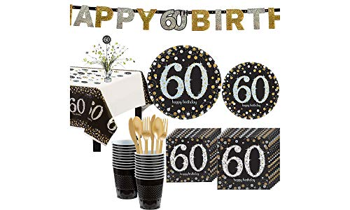 (Party City Sparkling Celebration 60th Birthday Party Kit for 16 Guests, 136 Pieces, Includes Tableware and Decorations)