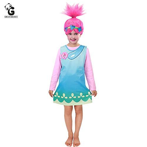 Girls' Costumes Trolls Poppy Fancy Dress Troll Wig Set Trolls Cosplay Costume 3pcs (New, S) Pink -