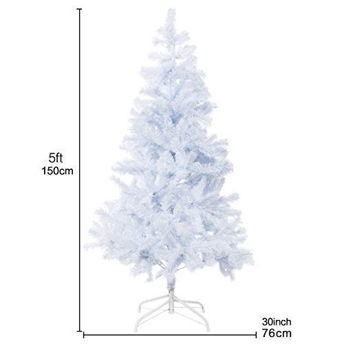 Bocca 5 FT Christmas Tree Atificial Premium Pine Full Tree with Metal Leg Indoor and Outdoor (White, 5FT) by Bocca (Image #4)