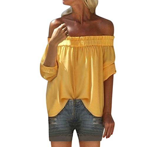 LEXUPA Women's Fashion Off Shoulder Half Sleeve Solid Loose Top Blouse(Yellow,XXXX-Large)