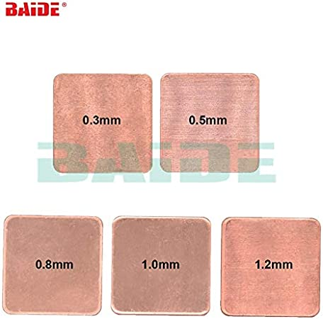 Tool Parts Copper Sheet Shim Piece Heat Sink 15 x 15mm 20 20mm 0.1//0.3//0.5//0.4//0.6//1.0//1.2//1.5//1.8//2.0mm Thermal Pad For Laptop GPU CPU Color: 15 x 15mm, Specification: 0.6mm