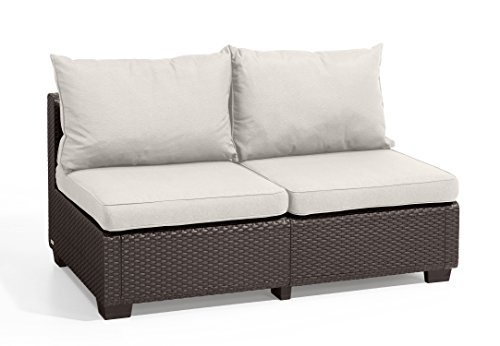 Keter Sapporo All Weather Modular Outdoor 2-Seater Patio Sofa Loveseat Sunbrella Cushions in a Resin Plastic Wicker Pattern, Modern Brown