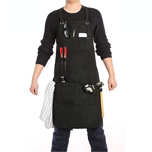 Work Apron for Men Canvas Heavy Duty With Cross-back Straps/Quick Release Buckle/Tool Pockets/Towel Loops (Black, Canvas)