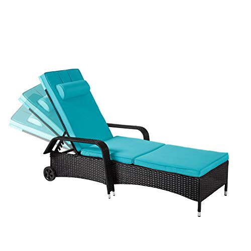 Kinsuite Patio Lounge Chair Outdoor Poolside Furniture Reclining Adjustable Chaise with Cushion and Wheel Blue