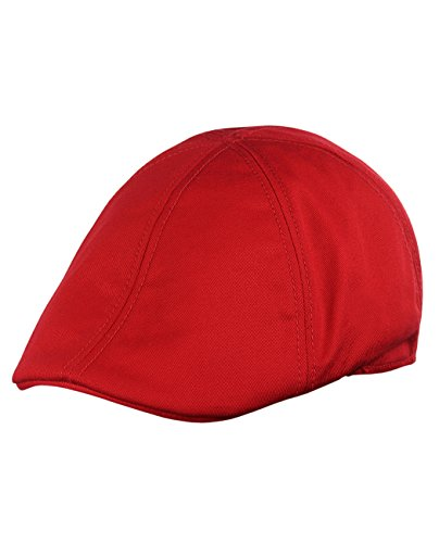 NYFASHION101 Fashionable Solid Color Unisex Cotton Duck Bill Newsboy Ivy Cap, Red -